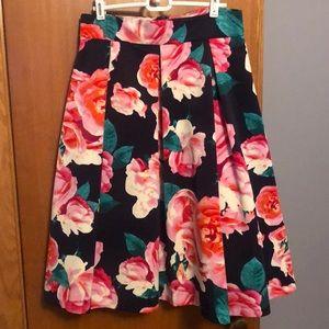 Eliza J Pleated Flowered Midi Skirt 8